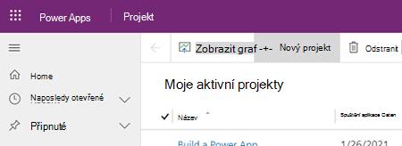 Tlačítko Nový projekt v aplikaci Projectu Power