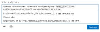 Adresa URL dokumentu vložená do příspěvku informačního kanálu