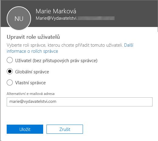 Podokno Upravit role uživatelů, ve kterém můžete změnit role uživatelů a alternativní e-mailovou adresu