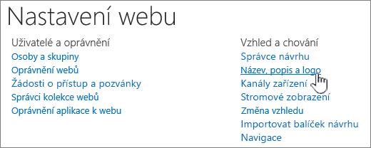 Nastavení webu s názvem, popisem, vybraným logem