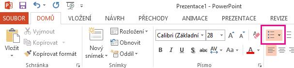Ikona odrážky je na pásu karet aplikace Excel.