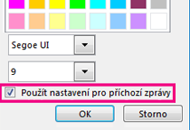 Snímek oddílu okna změny písma se zaškrtnutým tlačítkem Použít nastavení pro příchozí zprávy