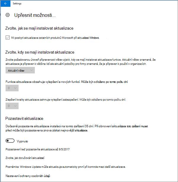 Windows Upřesnit možnosti aktualizace jsou všechny zašedlé.