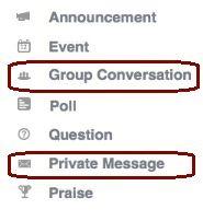 Snímek obrazovky zobrazující zobrazení konverzace skupiny a soukromé zprávy