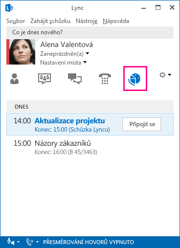 Snímek obrazovky s prostředím schůzky Lyncu