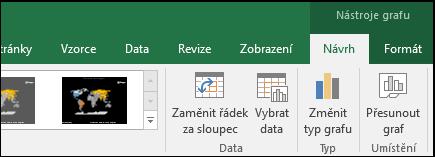 Nástroje mapového grafu na pásu karet v Excelu