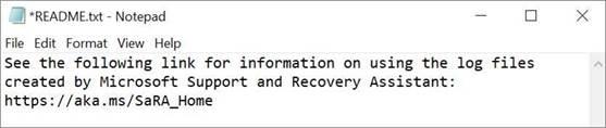 Obrázek souboru Read Me nástroje Microsoft Support and Recovery Assistant otevřeného v poznámkovém bloku.