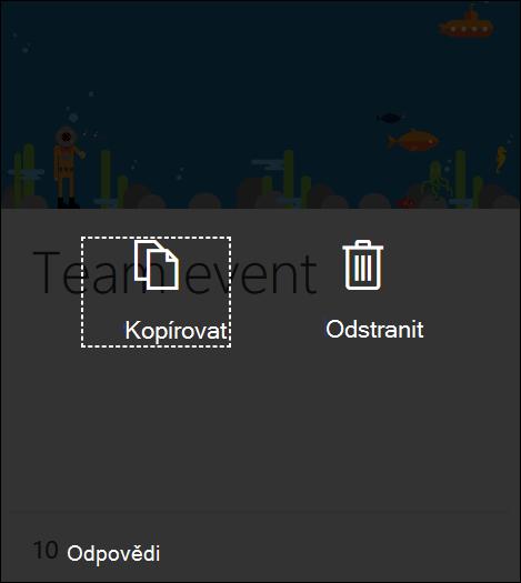 Kliknutí na tlačítko Odstranit v existujícím formuláři