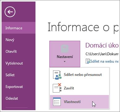 Na nejnovější verzi OneNotu můžete upgradovat přímo z nabídky Soubor.