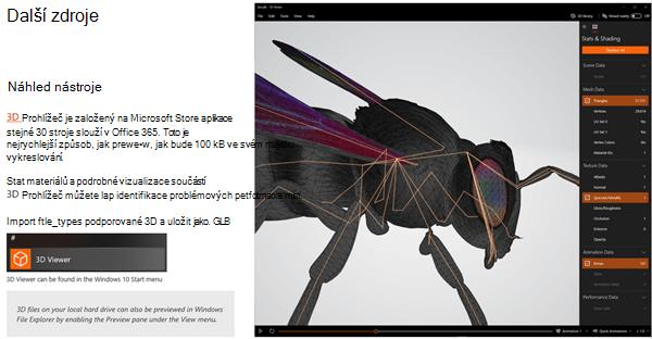 Snímek obrazovky s částí další materiály v pokynech k 3D obsahu