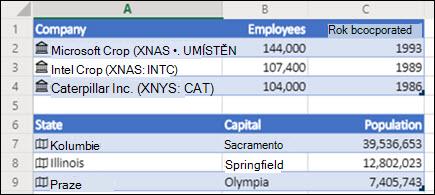 Obrázek datových typů Akcie a Zeměpis v Excel pro web