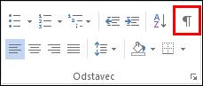 Tlačítko pro příkaz Zobrazit/Skrýt značky formátování vypadá jako značka odstavce.