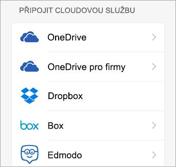 Zvolte cloudovou službu, kterou chcete přidat.