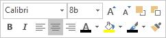 Plovoucí panel nebo minipanel nástrojů pro úpravy textu