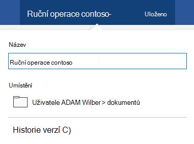 Dialogové okno operace se soubory se aktivují kliknutím na jeho název v horní části okna.
