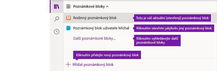 Seznam poznámkových bloků ve OneNotu pro Windows 10