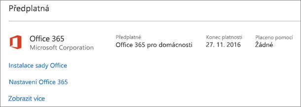 Pokud máte na novém počítači nainstalovanou zkušební verzi Office 365, skončí její platnost k zobrazenému datu.