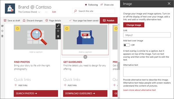 Ukázka vstupu webové části obrázek pro web moderní značky v SharePointu Online