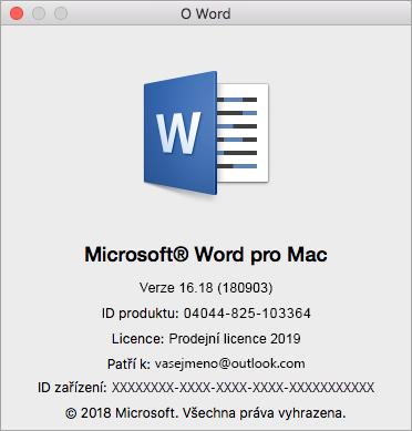 Dialogové okno O aplikaci Word