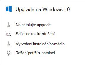 Windows 10 Upgrade karty v Centru pro správu.