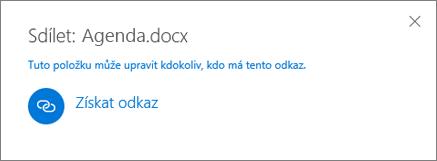 Snímek obrazovky s dialogovým oknem Sdílení po zvolení možnosti Získat odkaz