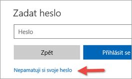 Volba možnosti Zapomenuté heslo