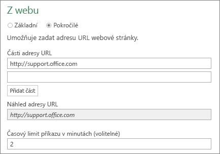 Dialogové okno Z webu, pole Časový limit příkazu v minutách