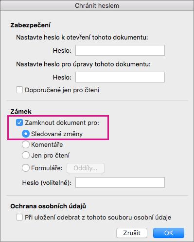 Dialogové okno chránit heslem s Zamknout dokument pro: a sledovaných změn zvýrazněná.