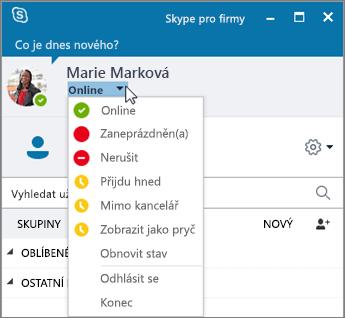 Snímek obrazovky s oknem Skypu pro firmy a s otevřenou nabídkou Stav.