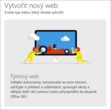 Vytvořit web na SharePointu v Office 365