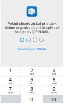 Zadejte na zařízení siOSem PIN pro přístup kaplikacím Office.