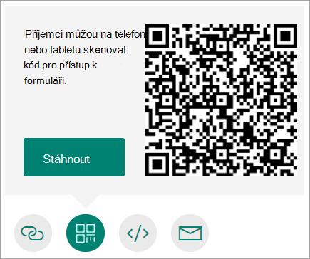 Odeslání QR kódu, který příjemci můžou naskenovat na telefonu nebo tabletu
