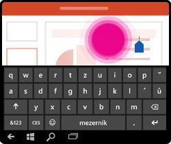 Gesto umístění kurzoru v PowerPointu pro Windows Mobile