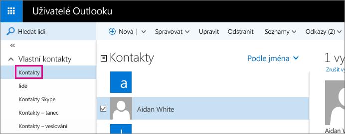 Snímek obrazovky se stránkou Lidé v Outlooku V levém podokně jsou rozbalené Moje kontakty a pod nimi je vidět složka Kontakty.