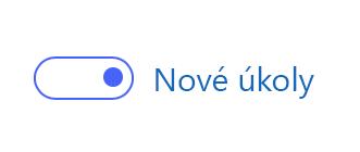 Snímek obrazovky se zapnutým přepínačem Nová aplikace Úkoly