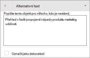 Dialog alternativní text pro obrazec v PowerPointu pro Android