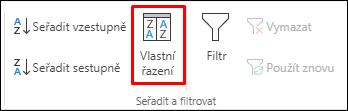 Možnost vlastního řazení na kartě Data v Excelu