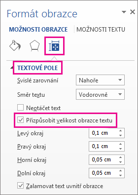 Výběr možnosti Přizpůsobit velikost obrazce textu v podokně Formát obrazce