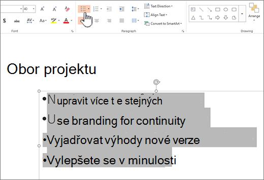 Vybraný text a zvýrazněným tlačítkem odrážky