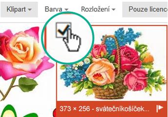 Vyberte miniaturu obrázku, který chcete vložit. V levém horním rohu se zobrazí značka zaškrtnutí.