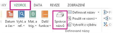 Kliknutí na kartu Vzorce a potom na Správce názvů