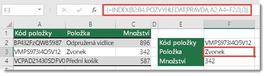 K vyhledání hodnot větších než 255 znaků použijte funkce INDEX a POZVYHLEDAT.
