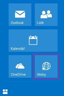 Výběrem dlaždice Weby zobrazte seznam sharepointových webů.