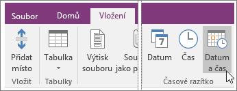 Snímek obrazovky s tlačítkem Datum a čas ve OneNotu 2016