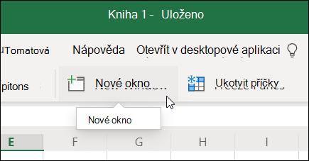 Příkaz Nové okno na pásu karet Excel pro web