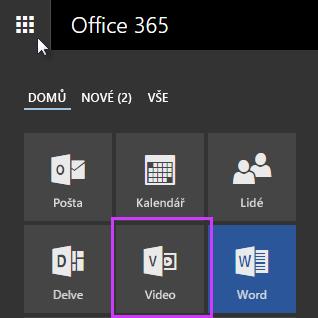 Ikona Office 365 Videa ve spouštěči aplikací