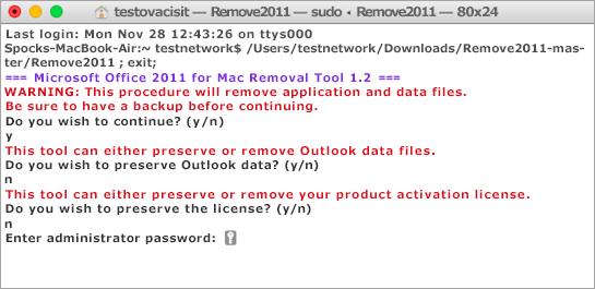 Pomocí klávesy Control a kliknutí spusťte nástroj Remove2011.