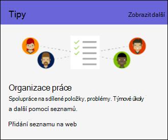 Tipy pro použití Online webu služby SharePoint