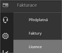 Nabídka Fakturace v nabídce nového Centra pro správu Office 365 s vybranou možností Licence