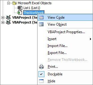 Okno Prohlížeč projektu zobrazující kód pro tento excelový sešit